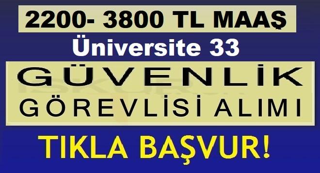 Erdoğan Üniversitesi 33 Özel Güvenlik Görevlisi Alıyor