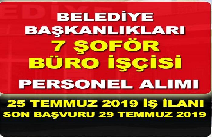 Araç ve Abana Belediye Başkanlığı 7 Büro işçisi, İnşaat ustası ve şoför alınacak