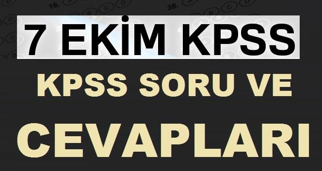 7 Ekim 2018 KPSS Soruları