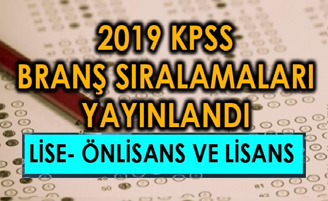 Kpss ortaöğretim branş sıralaması 2018