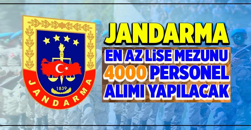 Jandarma Lise Mezun Personel Alımları 2020