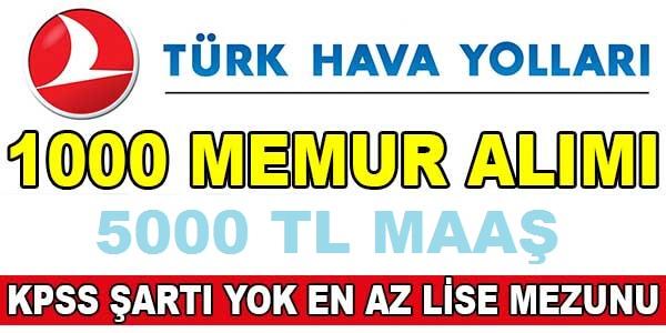 THY Türk Hava Yolları 1000 Personel Kamudan Kariyer ilanı