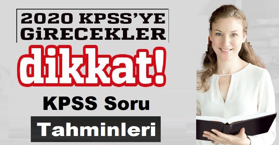 KPSS Soru Tahminleri Haziran 2020