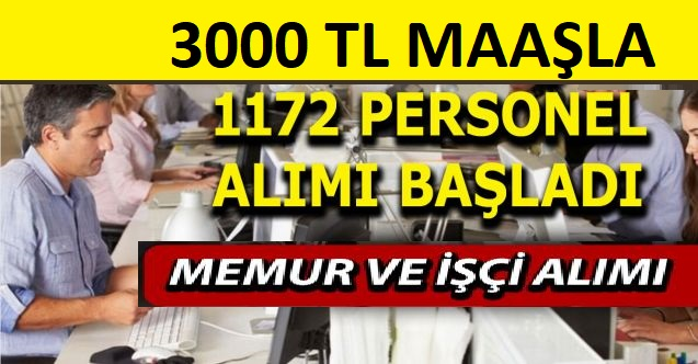 İŞKUR ile 1172 işçi, memur ve personel alımı yapılacaktır