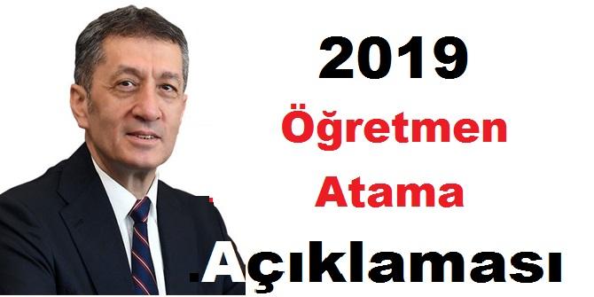 2019 Öğretmen Atama Açıklaması