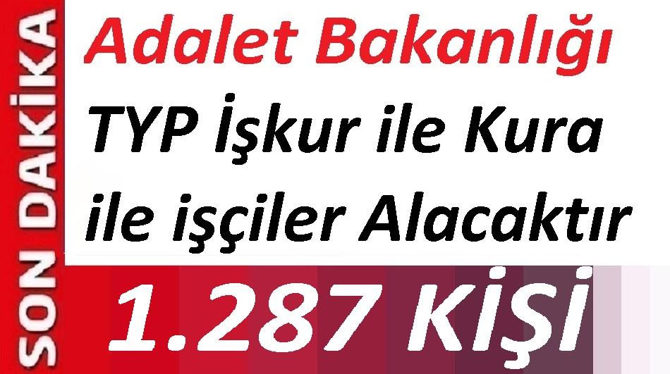 Adalet Bakanlığı, 1.287 Temizlik Görevlisi alacak 18 - 35 Yaş Kura ile