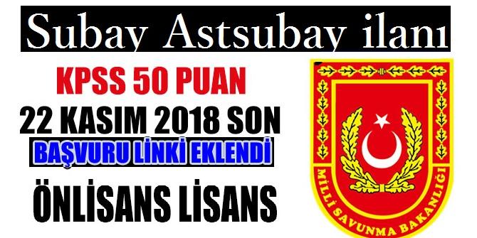 MSB KPSS 50 Puanla Subay Astsubay Alımı
