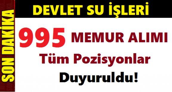 DSİ 995 Memur Alımı Yapacak! İŞTE KADROLAR