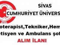 Sivas Üniversitesi sözleşmeli 104 sağlık personeli alacak