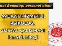 Adalet Bakanlığı Avukat Hizmetli Psikolog İstatistikçi Sosyal Çalışmacı Alımı