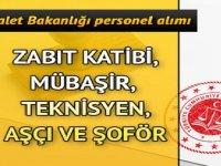 Adalet Bakanlığı 1.353 Şoför Mübaşir, Zabıt Katibi, Teknisyen Aşçı Alımı yapıyor