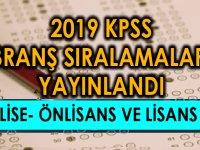 2019 KPSS Lise- Önlisans ve Lisans Branş Sıralamaları