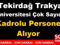 Trakya Tekirdağ Üniversitesi Çok Sayıda Kadrolu Personel Alıyor