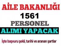 2828 sayılı Sosyal Hizmetler Kanunu ile 1561 Devlet Memuru Alım ilanı