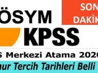 KPSS 2020/2  Atama Tercih Tarihleri