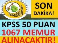 KPSS 50 PUANLA KAMUYA 1067 DEVLET MEMURU ALIMI YAPILACAKTIR