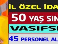 İL ÖZEL İDARESİ 50 yaş sınır vasıfsız toplamda 45 İşçi alımı yapılacağı belirtilmektedir.