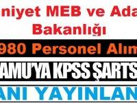 EGM ve MEB Ve Adalet Bakanlığı 980 Kamudan Kariyer Personel Alımı