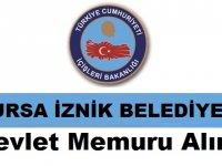 İznik Belediye Başkanlığı Devlet Memuru Alım ilanı