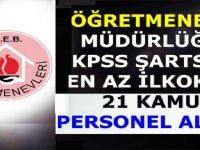 Öğretmenevi ASO Müdürlüğü KPSS Şartsız 21 Kamudan Kariyer Personeli Alımı