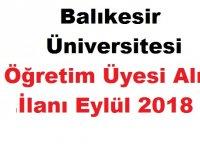 Balıkesir Üniversitesi Öğretim Üyesi Alım İlanı Eylül 2018