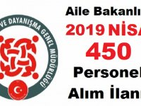 Aile Bakanlığı 450 Kamu Personel Alımı İşkur İş İlanları 2019